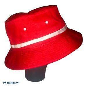 Vintage cherry red & white bucket hat